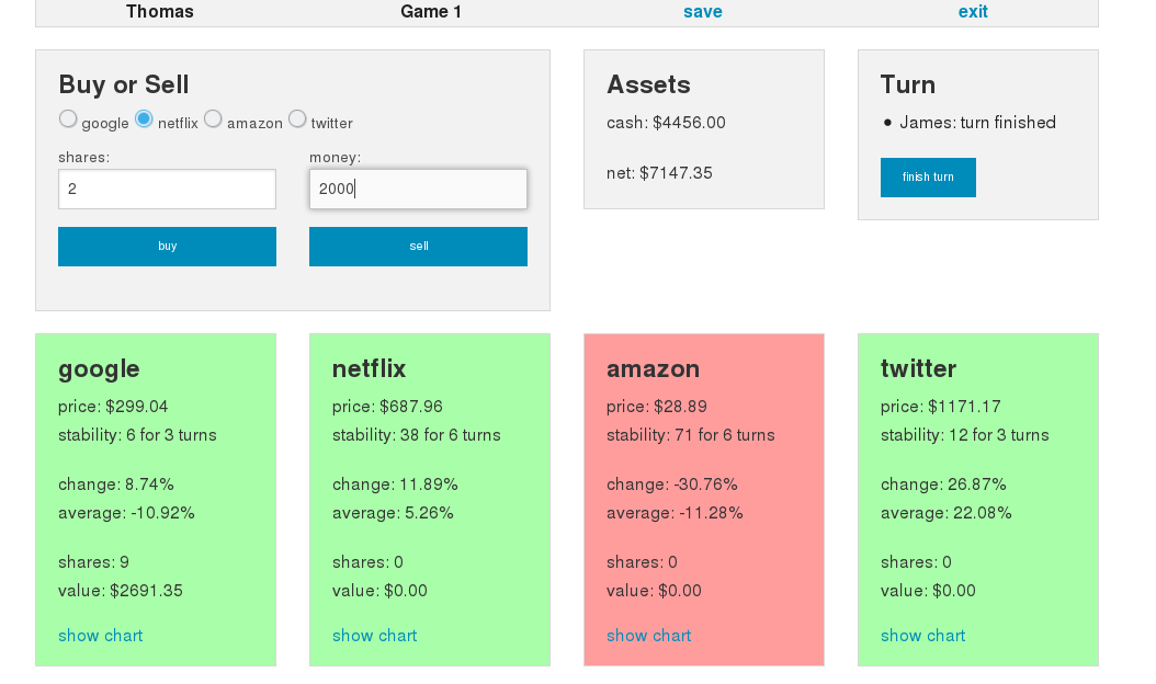 Stock Market Game Screenshot